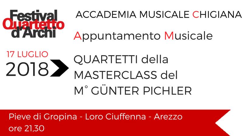 Accademia Musicale Chigiana -Appuntamento della Masterclass del Quartetto d'Archi del M° Günter Pichler 17 luglio 2018