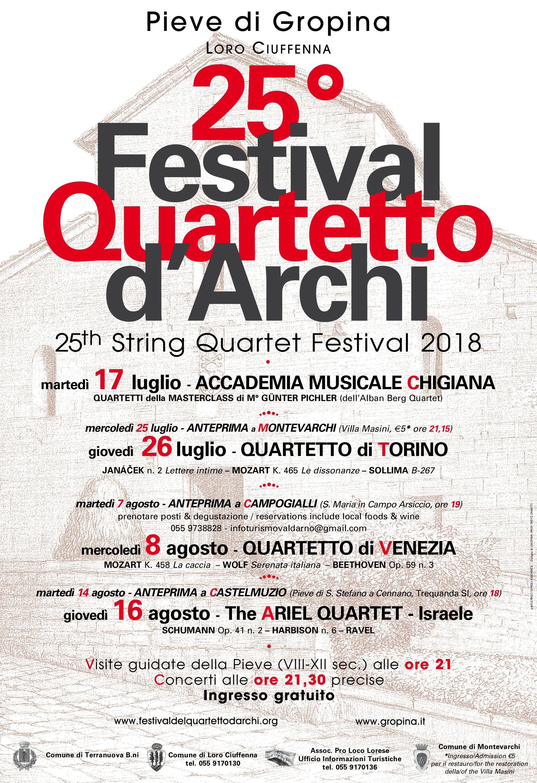 25th String Quartet Festival 2018 – 25° FESTIVAL DEL QUARTETTO D'ARCHI – GROPINA