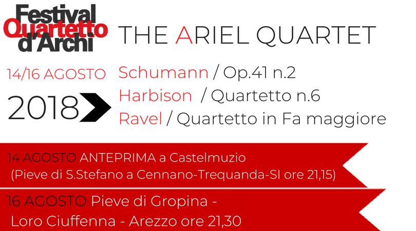 The Ariel Quartet- 14 e 16 agosto 2018