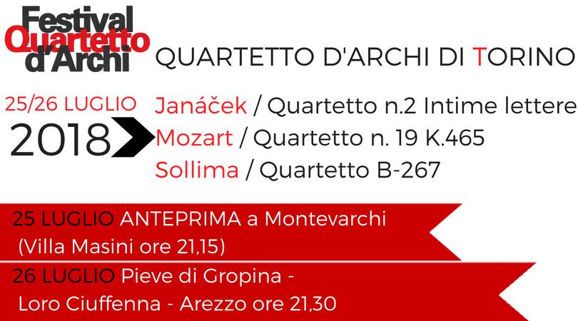 Quartetto d'Archi di Torino – 25 e 26 luglio 2018